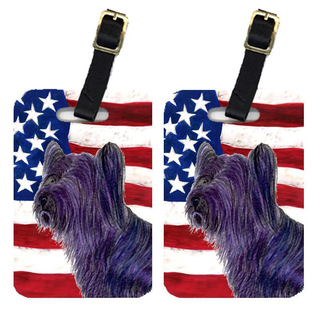Buy this Pair of USA American Flag with Skye Terrier Luggage Tags SS4219BT
