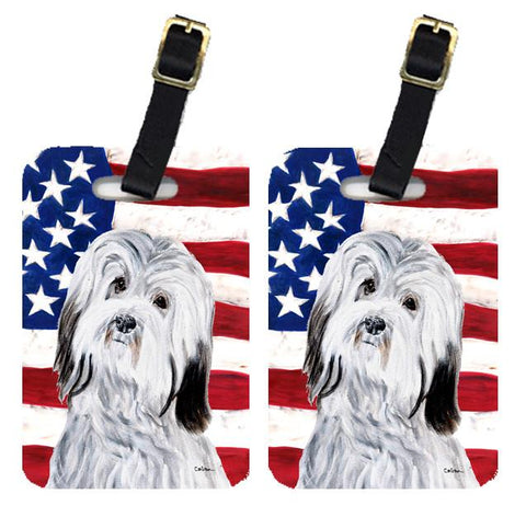 Buy this Pair of Havanese with American Flag USA Luggage Tags SC9641BT