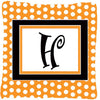 Monogram Initial H Orange Polkadots Decorative   Canvas Fabric Pillow CJ1033 - the-store.com