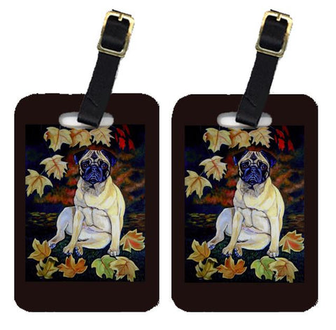 Buy this Pair of 2 Old Fawn Pug in fall leaves Luggage Tags