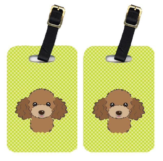 Pair of Checkerboard Lime Green Chocolate Brown Poodle Luggage Tags BB1318BT by Caroline's Treasures