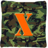 Monogram Initial X Camo Green Decorative   Canvas Fabric Pillow CJ1030 - the-store.com