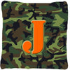 Monogram Initial J Camo Green Decorative   Canvas Fabric Pillow CJ1030 - the-store.com