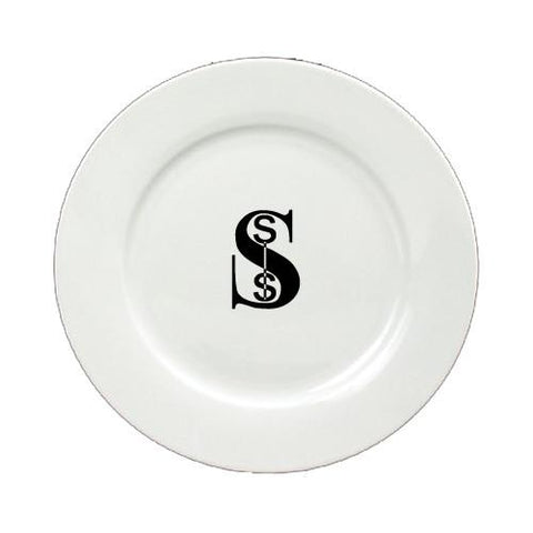 Buy this Letter S Initial Monogram Modern Round Ceramic White Salad Plate CJ1056-S-DPW