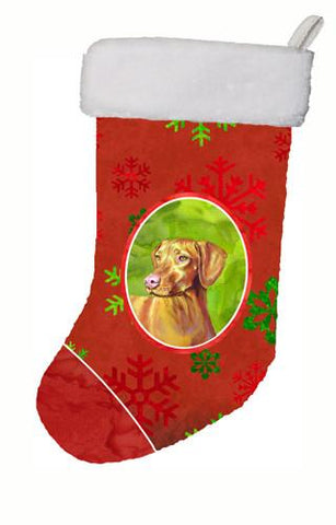 Buy this Vizsla Red and Green Snowflakes Holiday Christmas Christmas Stocking LH9325