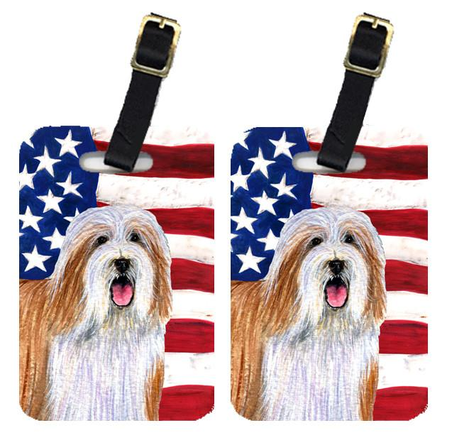 Buy this Pair of USA American Flag with Bearded Collie Luggage Tags SS4245BT