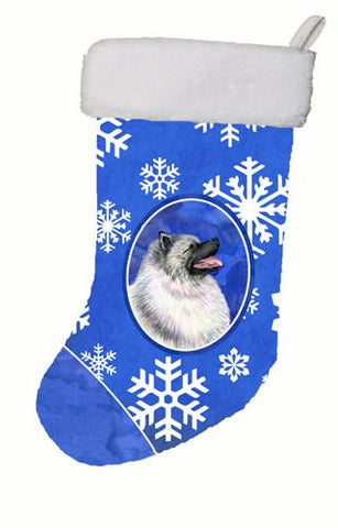 Buy this Keeshond Winter Snowflakes Christmas Stocking SS4626