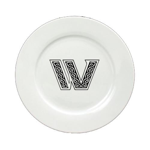 Letter W Initial Monogram Celtic Ceramic White Dinner Plate CJ1059-W-DPW-11 by Caroline's Treasures
