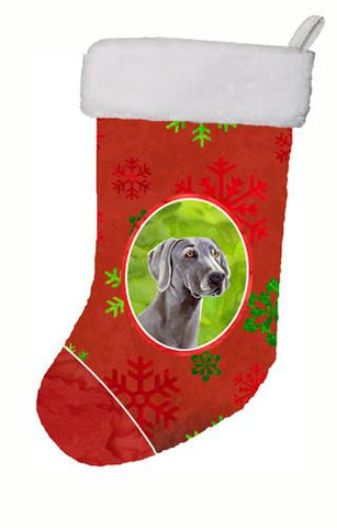 Buy this Weimaraner Red and Green Snowflakes Holiday Christmas Christmas Stocking LH9341