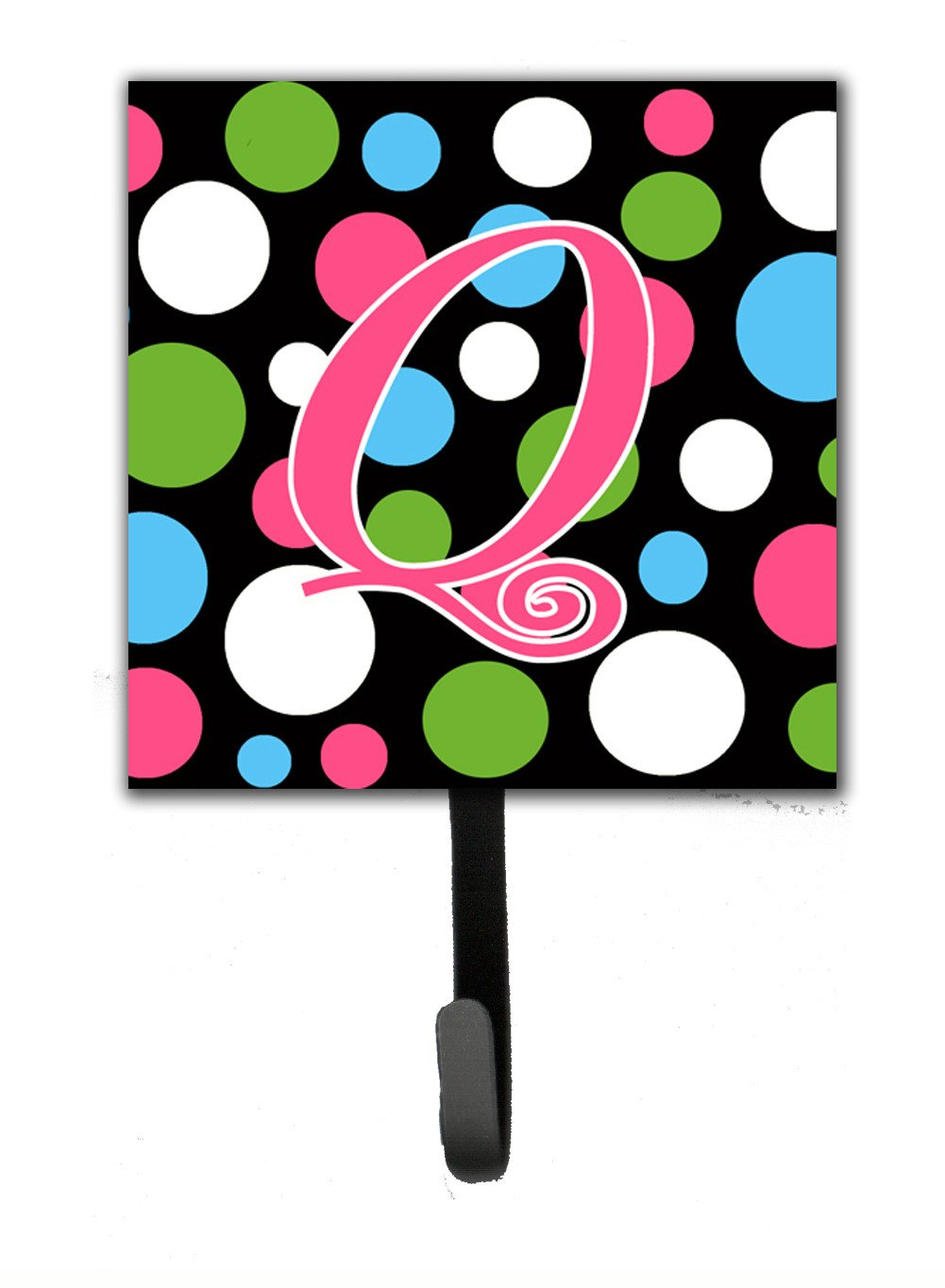Buy this Letter Q Initial Monogram - Polkadots and Pink Leash Holder or Key Hook