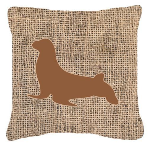 Buy this Seal Burlap and Brown   Canvas Fabric Decorative Pillow BB1027