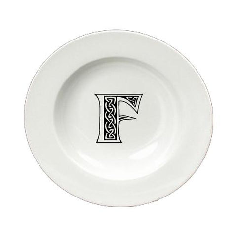 Buy this Letter F Initial Monogram Celtic Round Ceramic White Soup Bowl CJ1059-F-SBW-825