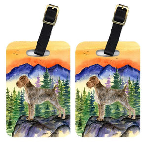 Buy this Pair of 2 German Wirehaired Pointer Luggage Tags
