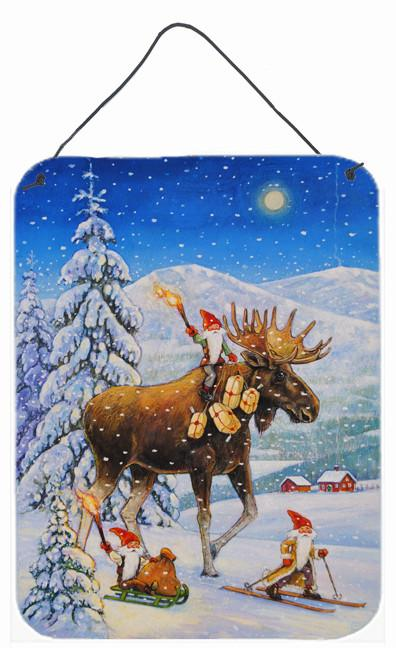 Christmas Gnome riding Reindeer Wall or Door Hanging Prints ACG0102DS1216 by Caroline's Treasures