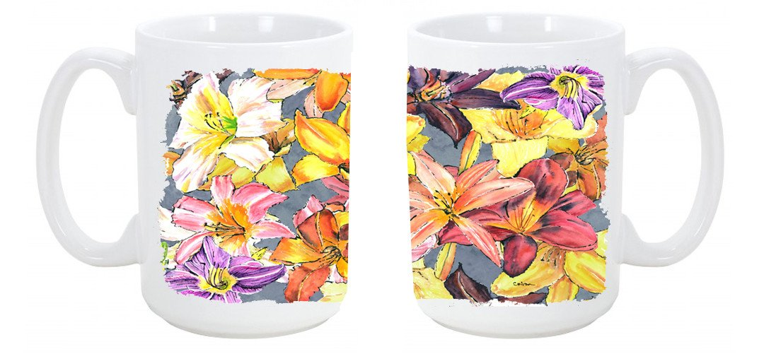 Day Lillies Dishwasher Safe Microwavable Ceramic Coffee Mug 15 ounce 8892CM15 by Caroline's Treasures