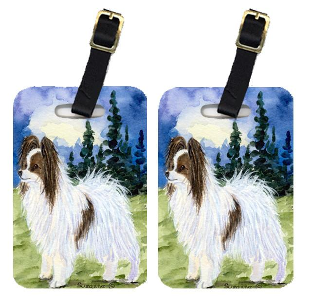 Pair of 2 Papillon Luggage Tags by Caroline's Treasures