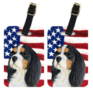 Buy this Pair of USA American Flag with Cavalier Spaniel Luggage Tags SS4248BT