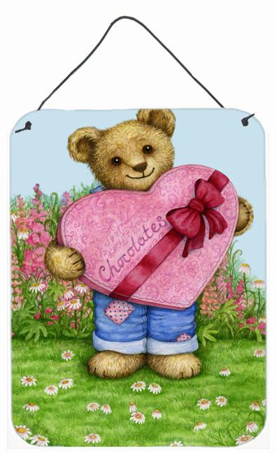 Valentine Teddy Bear with Chocolates Wall or Door Hanging Prints CDCO318ADS1216 by Caroline's Treasures