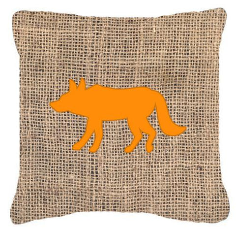 Buy this Wolf Burlap and Orange   Canvas Fabric Decorative Pillow BB1123