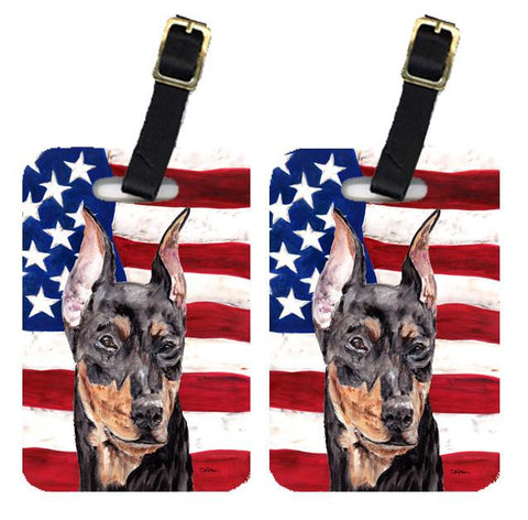Buy this Pair of German Pinscher with American Flag USA Luggage Tags SC9644BT