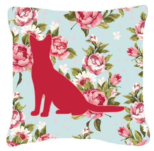 Cat Shabby Chic Blue Roses   Canvas Fabric Decorative Pillow BB1071 - the-store.com