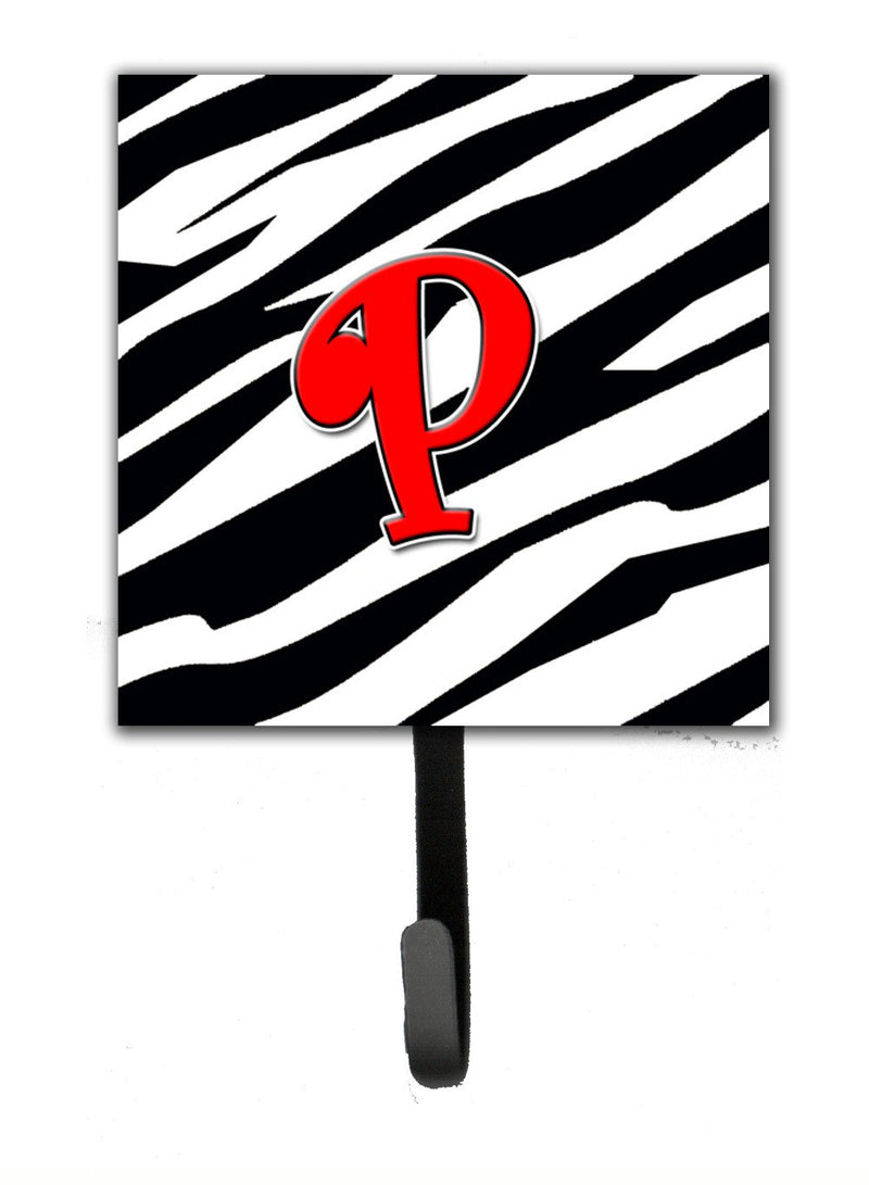 Buy this Letter P Initial Monogram - Zebra Red Leash Holder or Key Hook