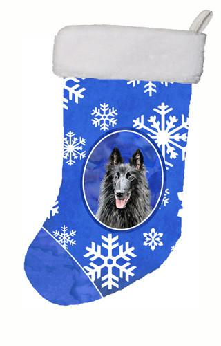 Buy this Belgian Sheepdog Winter Snowflakes Christmas Stocking SC9398