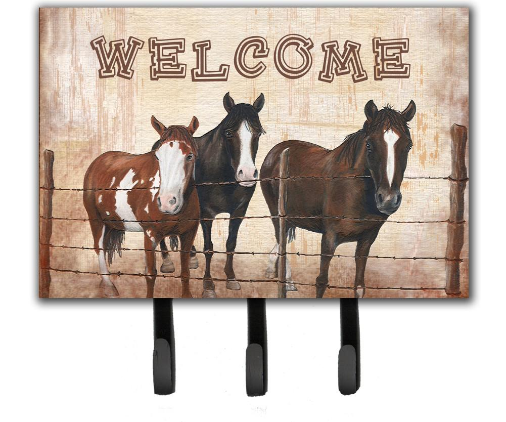 Welcome Mat with Horses Leash or Key Holder SB3059TH68 by Caroline's Treasures