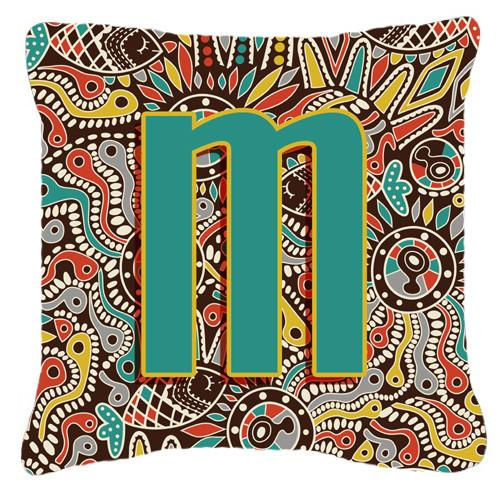 Letter M Retro Tribal Alphabet Initial Canvas Fabric Decorative Pillow CJ2013-MPW1414 by Caroline's Treasures