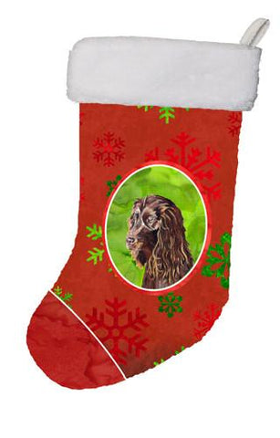 Buy this Boykin Spaniel Red Snowflakes Holiday Christmas Stocking SC9588-CS