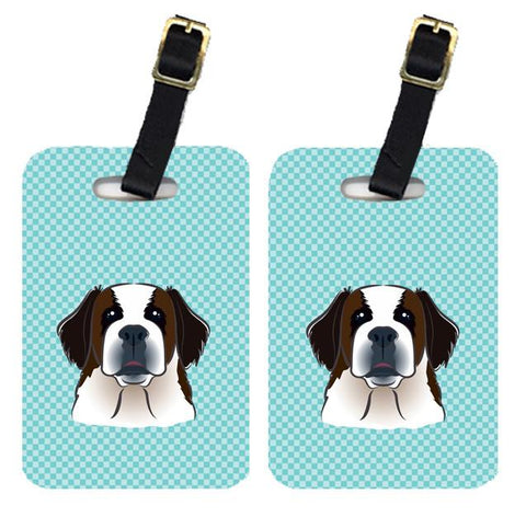 Buy this Pair of Checkerboard Blue Saint Bernard Luggage Tags BB1184BT