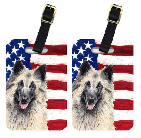 Buy this Pair of USA American Flag with Belgian Tervuren Luggage Tags SC9116BT