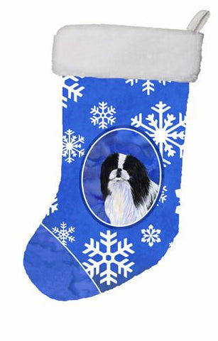 Buy this Japanese Chin Winter Snowflakes Christmas Stocking SS4605