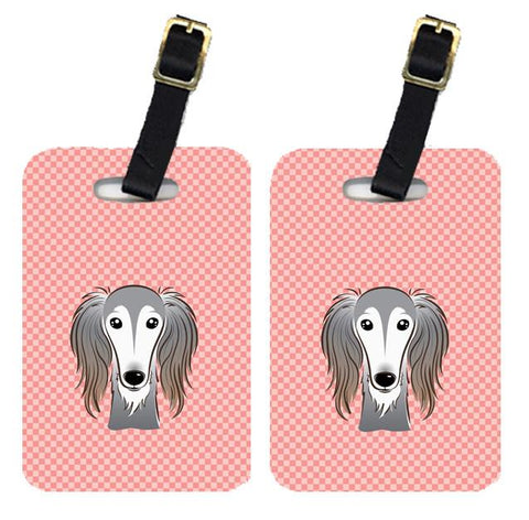 Buy this Pair of Checkerboard Pink Saluki Luggage Tags BB1229BT