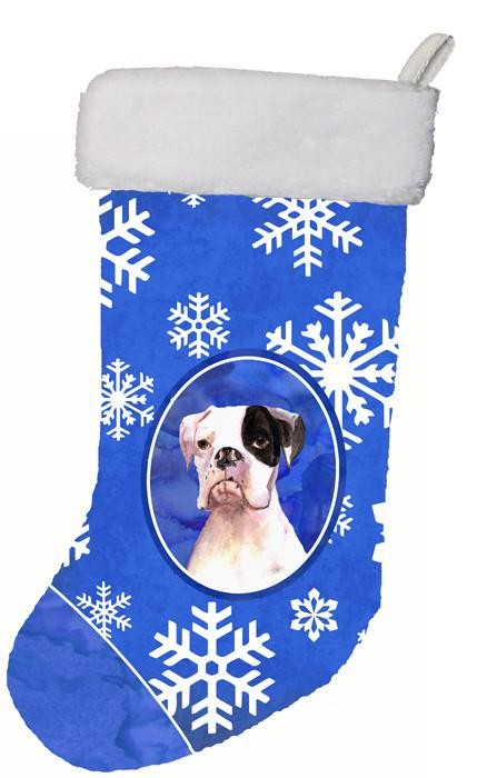 Buy this Cooper Winter Snowflakes Boxer Christmas Stocking RDR3003