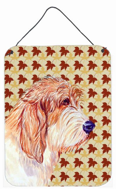 Petit Basset Griffon Vendeen Fall Leaves Portrait Wall or Door Hanging Prints by Caroline's Treasures