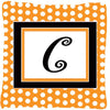 Buy this Monogram Initial C Orange Polkadots Decorative   Canvas Fabric Pillow CJ1033