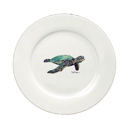 Turtle  Ceramic - Plate Round 11 inch solid white 8635-DPW by Caroline's Treasures