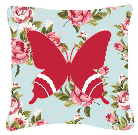 Buy this Butterfly Shabby Chic Blue Roses   Canvas Fabric Decorative Pillow BB1034