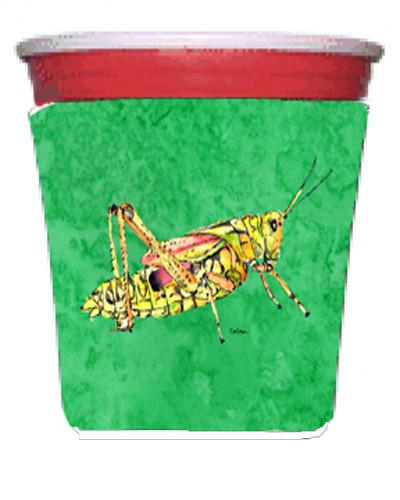 Grasshopper on Green Red Solo Cup Beverage Insulator Hugger by Caroline's Treasures