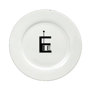 Buy this Letter E Initial Monogram Modern Round Ceramic White Salad Plate CJ1056-E-DPW