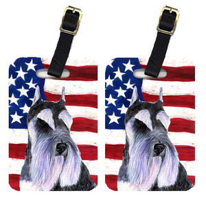 Buy this Pair of USA American Flag with Schnauzer Luggage Tags SS4056BT