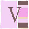 Buy this Letter V Initial Monogram - Pink Stripes Decorative   Canvas Fabric Pillow
