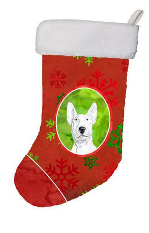 Buy this Bull Terrier Red Snowflakes Holiday Christmas Stocking SC9590-CS