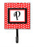Letter P Initial Monogram - Red Black Polka Dots Leash Holder or Key Hook by Caroline's Treasures