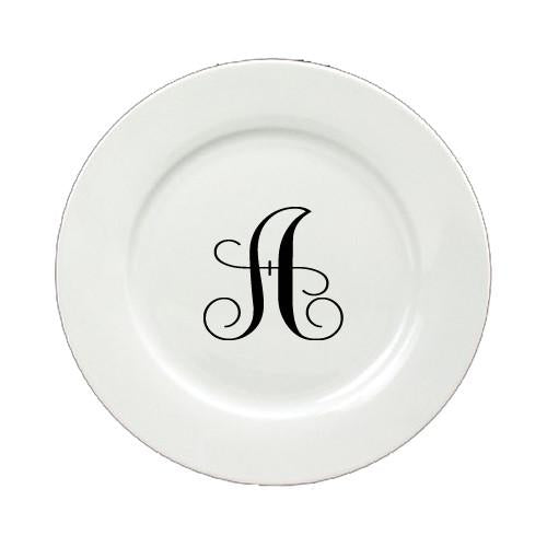 Buy this Letter A Initial Monogram Script Round Ceramic White Salad Plate CJ1057-A-DPW