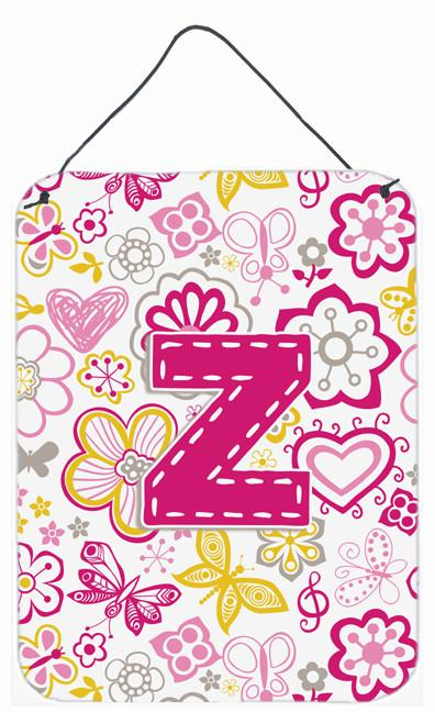 Buy this Letter Z Flowers and Butterflies Pink Wall or Door Hanging Prints CJ2005-ZDS1216