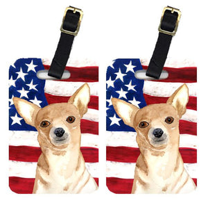 Buy this Pair of USA American Flag with Chihuahua Luggage Tags RDR3009BT