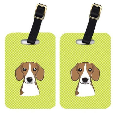 Buy this Pair of Checkerboard Lime Green Beagle Luggage Tags BB1301BT