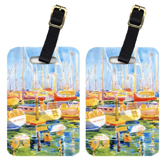 Pair of 2 Boats at Harbour Pier Luggage Tags by Caroline's Treasures